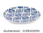 blue dinner plate with oriental ... | Shutterstock . vector #1198102054
