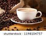 cup of coffee and  cake on... | Shutterstock . vector #1198104757