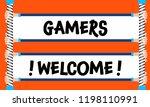 hands hold inscription  gamers...   Shutterstock .eps vector #1198110991