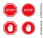 set of stop signs in red.... | Shutterstock .eps vector #1198121611