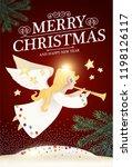merry christmas cute background ... | Shutterstock .eps vector #1198126117