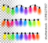 christmas lights background.... | Shutterstock .eps vector #1198127557