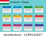 flat design of calendar months... | Shutterstock .eps vector #1198132657