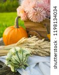 autumn decorations during the... | Shutterstock . vector #1198134034