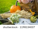 autumn decorations during the... | Shutterstock . vector #1198134037