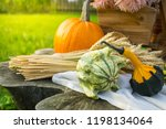 autumn decorations during the... | Shutterstock . vector #1198134064