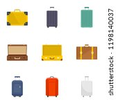 suitcase icon set. flat set of...   Shutterstock .eps vector #1198140037