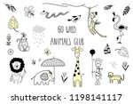 doodle set of cute tropical... | Shutterstock .eps vector #1198141117