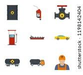 oil petrol icon set. flat set... | Shutterstock .eps vector #1198142404