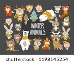 set of cute cartoon character... | Shutterstock .eps vector #1198145254