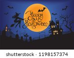 dark castle and a witch in... | Shutterstock .eps vector #1198157374