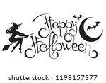 happy halloween text. hand...   Shutterstock .eps vector #1198157377