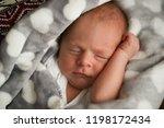 sweet sleeping newborn baby in... | Shutterstock . vector #1198172434