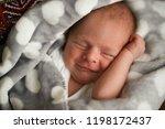 sweet sleeping newborn baby in... | Shutterstock . vector #1198172437