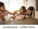 three girls sisters fall asleep ... | Shutterstock . vector #1198173241