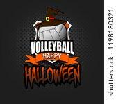 halloween pattern. volleyball... | Shutterstock .eps vector #1198180321