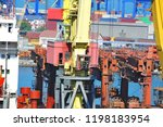 bulk cargo ship under port... | Shutterstock . vector #1198183954