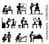 artistic artist work occupation ... | Shutterstock .eps vector #119819041