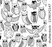 Stock vector black and white seamless pattern with funny owls 1198192147
