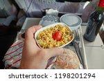 airplane food served in flight   Shutterstock . vector #1198201294