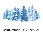 Watercolor Snowy Forest...