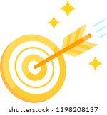 a golden arrow hitting the...   Shutterstock .eps vector #1198208137