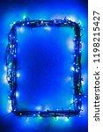 christmas lights frame on snow... | Shutterstock . vector #1198215427