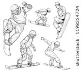 snowboard hand drawn... | Shutterstock .eps vector #1198224724