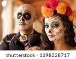 catrin and catrina in cemetery...   Shutterstock . vector #1198228717