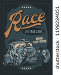 vector poster. racing on old... | Shutterstock .eps vector #1198234051