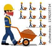 set of worker is walking with... | Shutterstock .eps vector #1198235734