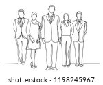 continuous line drawing of five ... | Shutterstock .eps vector #1198245967