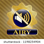 shiny emblem with mute icon...   Shutterstock .eps vector #1198254904