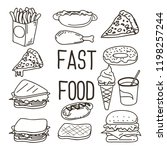 a cute fast food vector doodle... | Shutterstock .eps vector #1198257244