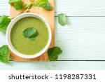 spinach soup bowl   healthy... | Shutterstock . vector #1198287331