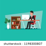 businessman working on computer ... | Shutterstock .eps vector #1198300807