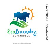 eco laundry logo template... | Shutterstock .eps vector #1198300951