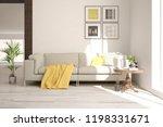 white modern room with sofa.... | Shutterstock . vector #1198331671