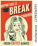 advertising coffee retro poster ... | Shutterstock .eps vector #1198336591