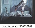 beautiful modern bedroom in... | Shutterstock . vector #1198338781
