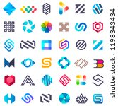 big vector set of logo design.... | Shutterstock .eps vector #1198343434