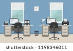 workplace of office workers... | Shutterstock . vector #1198346011