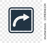turn right vector icon isolated ... | Shutterstock .eps vector #1198346134