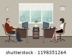 web banner of two office... | Shutterstock . vector #1198351264