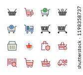 supermarket icon set. vector... | Shutterstock .eps vector #1198358737