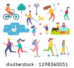 people in park resting man and... | Shutterstock .eps vector #1198360051