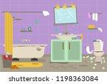 cartoon dirty organized... | Shutterstock .eps vector #1198363084