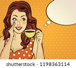 sexy pop art woman with coffee... | Shutterstock .eps vector #1198363114