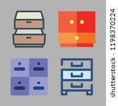drawer icon set. vector set... | Shutterstock .eps vector #1198370224
