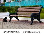 bench in the park  a black cat... | Shutterstock . vector #1198378171
